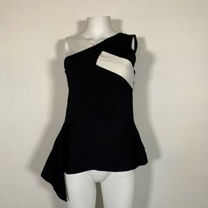 Bar III Top Blouse Black White Crossover Sz L